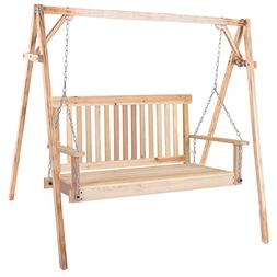 allgoodsdelight365 4 FT Porch Swing Natural Wood Garden Swin