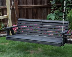 Amish Heavy Duty 800 Lb Roll Back 4ft Porch Garden Swing Wit