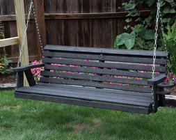 Amish Heavy Duty 800 Lb Roll Back 5ft Porch Garden Swing Wit
