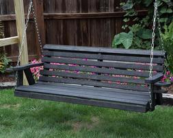 Amish Heavy Duty 800 Lb Roll Back 5ft Porch Garden Swing Wit
