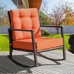 Rattan Wicker Rocking Chair Porch Deck Rocker with Cushion F