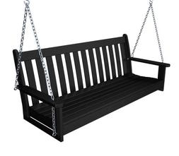 """Recycled Plastic 60"""" Swing  by Polywood Frame Color: Black"""