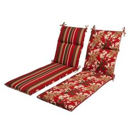 Pillow Perfect Outdoor Red/ Brown Reversible Chaise Lounge C