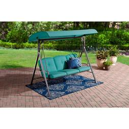 Red Patio Swing Canopy Porch Outdoor Lawn 3 Person Cushioned