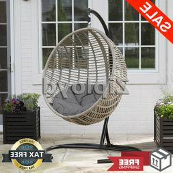 Resin Wicker Hanging Egg Chair Outdoor Porch Swing Cushion S