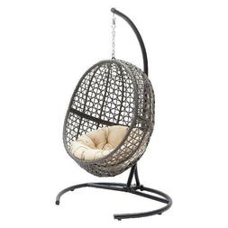 Belham Living Resin Wicker Hanging Egg Chair With Cushion An