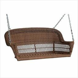Jeco Resin Wicker Porch Swing in Honey Transitional Outdoor