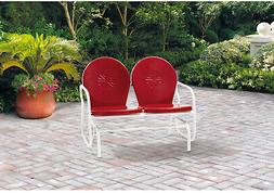 Retro Style Metal Glider Chair 2 Person Outdoor Seat Bench P