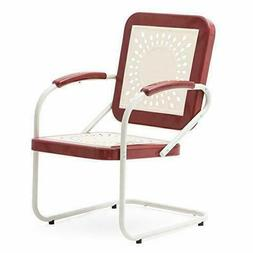Retro Vintage Spring Style Chair Red White Metal Patio Porch