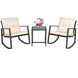 SUNCROWN Outdoor 3-Piece Rocking Bistro Set: Black Wicker Fu