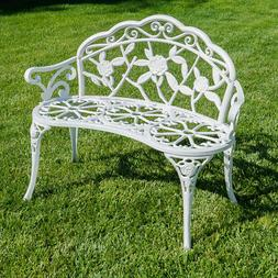 Rose Style Love Seat Bench White Cast Iron Antique Designed