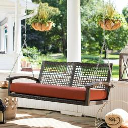 Rust Color Cushion Resin Wicker Two Person Hanging Porch Swi