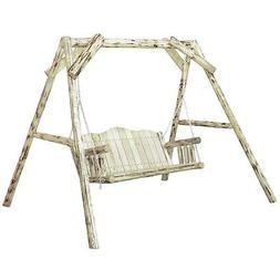 Rustic Log Porch Swing with A Frame Unfinished Amish Made Ou