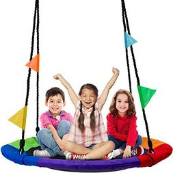 Sorbus Saucer Tree Swing in Multi-Color Rainbow – Kids Ind