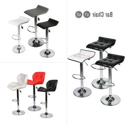Set Of 2 Bar Stools Pub Chair Adjustable Leather Swivel Coun