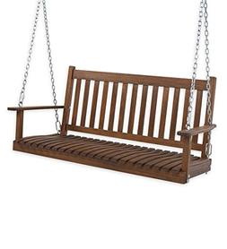 Slatted Wood Porch Swing, in Natural Stain