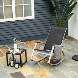 Outsunny  Sling Porch Rocker Patio Chair Seat Deck Outdoor B