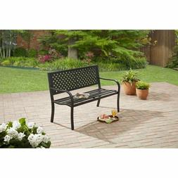 Steel Bench - Black Durable 400 lbs Steel Frame Home Yard Ou