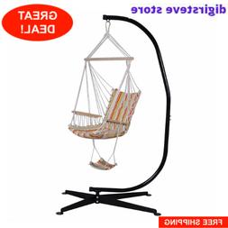 Steel C Frame Porch Hammock Swing Chair Stand Free Standing