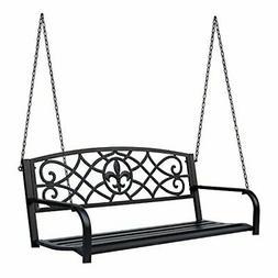 Outsunny Steel Fleur-de-Lis Design Outdoor Porch Swing Seat