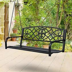 Outsunny Steel Fleur-de-Lis Design Outdoor Porch Swing Seat