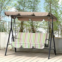 Outsunny Steel Garden Porch Swing Bench Chair 3 Person with