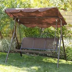 Sunshade Dark Brown Porch Swing Glider Outdoor Chair Tilt UV