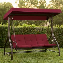 Swing With Canopy Metal Steel Stand Flatbed Convertible Cush