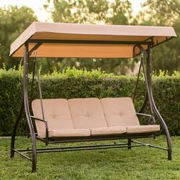 Swing With Canopy Steel Stand Convertible Bench Bed Beige Cu