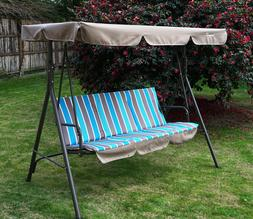 Swing With Stand Blue Canopy Cushion Steel Frame 3 Person Ad