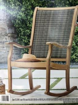 Teak & Wicker Porch Rocker Rocking Chair NIB Free Ship