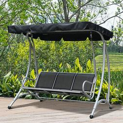 Three Person Steel Outdoor Porch Swing Chair Bench with Cano
