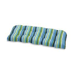 Pillow Perfect Outdoor Topanga Stripe Lagoon Wicker Loveseat