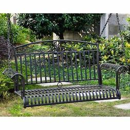 International Caravan Tropico Iron Patio Porch Swing in Blac
