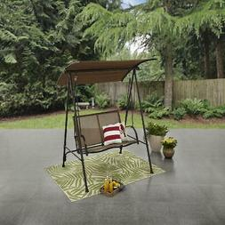 Mainstays Two Person Brown Canopy Sling Porch Swing - Brown