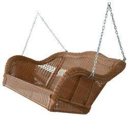 Walnut Casco Bay Resin Wicker Porch Swing