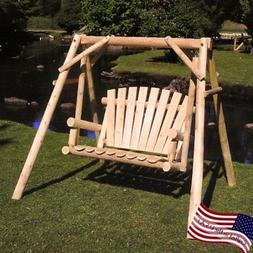 Lakeland Mills White Cedar Log Porch Swing and Stand Set