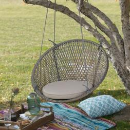 Wicker Porch Swing Hanging Rattan Bench Chair Cushion Stylis