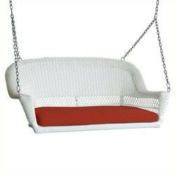Pemberly Row Wicker Porch Swing in White with Red Cushion