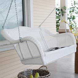 Wicker Porch Swing Resin Patio Hanging Furniture Seat Bench