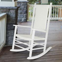 WICKER ROCKING CHAIR Garden Porch Rocker Hard Wood White