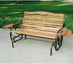 Wood Glider Bench 2 Person Outdoor Patio Garden Front Porch