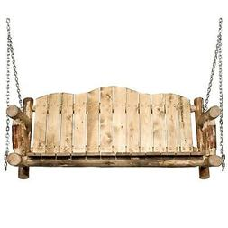 Wood Hanging Porch Swing Wooden Seat with Chains Amish Made