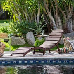 Outdoor Wood Chaise Lounge Chair Patio Furniture Garden Pool