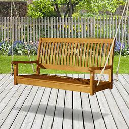 Outsunny Wood Porch Swing Hanging Bench Seat Deck Courtyard
