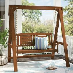 Wood Porch Swing With Stand 2 Seat Glider Outdoor Patio Furn