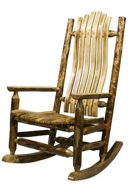 Wood Rocking Chair Amish Made Porch Rockers Log Cabin Furnit
