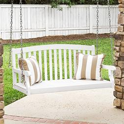Best Choice Products 48in Wooden Curved Back Hanging Porch S