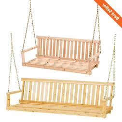 Wooden Outdoor Swing Porch Hanging Seat Bench Patio Chair Ga