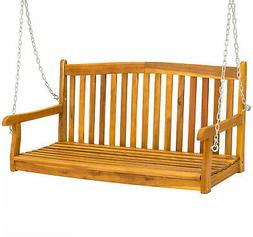Best Choice Products 48in Wooden Porch Furniture Swing Bench